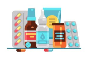 Medical Pills And Bottles. Healthcare, Medication, Pharmacy Or D